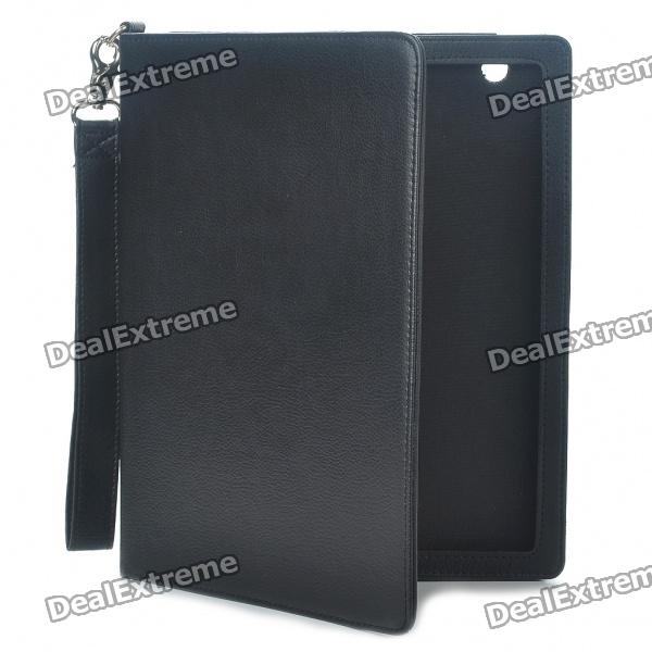 Protective PU Leather Case w/ Strap for iPad 2 - Black