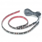 Car Decorative 2.9W 18x3528 SMD LED Red Light Water Resistant Flexible Strips - Pair (DC 12V)