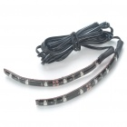 Car Decorative 0.96W 6x3528 SMD LED Red Light Water Resistant Flexible Strips - Pair (DC 12V)
