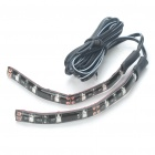 Car Decorative 0.96W 6x3528 SMD LED Green Light Water Resistant Flexible Strips - Pair (DC 12V)