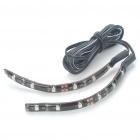 Car Decorative 0.96W 6x3528 SMD LED Yellow Light Water Resistant Flexible Strips - Pair (DC 12V)
