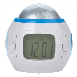"""2.0"""" LCD Music and Starry Sky Fashionable Alarm Clock w/ Calendar/Thermometer (3 x AAA)"""