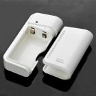 2xAA Batteries Emergency Charger with White LED Light & Micro USB Cable for Cell Phone - White
