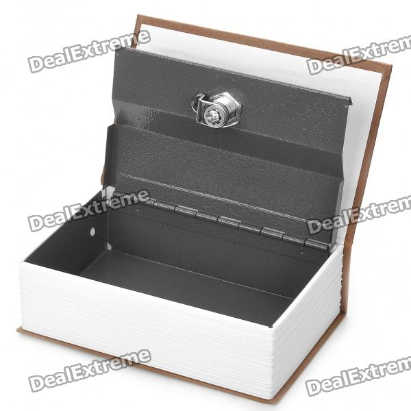 Disguised Dictionary Book Safe Home Security Cash Box Lock - Brown + White