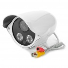 1/3 CCD Water Resistant Surveillance Security Camera w/ 2-LED IR Night Vision - White (DC 12V)