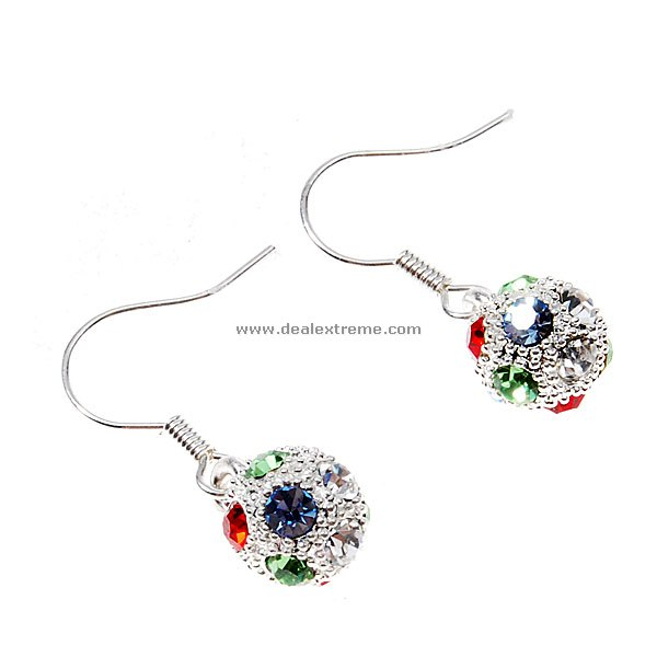 Glamorous Crystal Balls 925 Silver Earrings