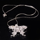 Glamorous Crystal Meshy Butterfly 925 Silver Necklace