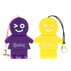 Kaston Cute Boy and Girl Style USB 2.0 TF Card Readers - Yellow + Purple (Pair/Max. 32GB)
