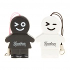 Kaston Cute Boy and Girl Style USB 2.0 TF Card Readers - White + Black (Pair/Max. 32GB)