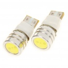 T10 1W 6500K 90-Lumen 2-Mode 1-LED White Light Bulb (Pair/DC 12V)