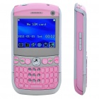 "2.2"" Tri SIM Dual Cameras Quadband GSM TV Qwerty Cell Phone w/ JAVA - Silver + Pink"