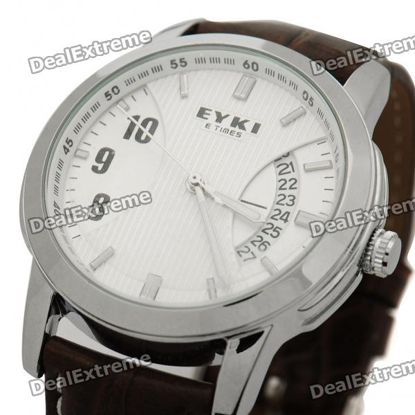 EYKI Elegant Water Resistant PU Leather Band Stainless Steel Wrist Watch (1 x LR626)