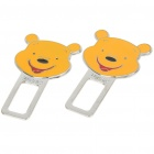 Universal Winnie The Pooh Style Safety Seat Belt Buckle - Yellow (Pair)