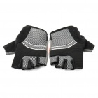 Outdoor Sports Bicycle Half-Finger Gloves - Black + Grey (L Size / Pair)