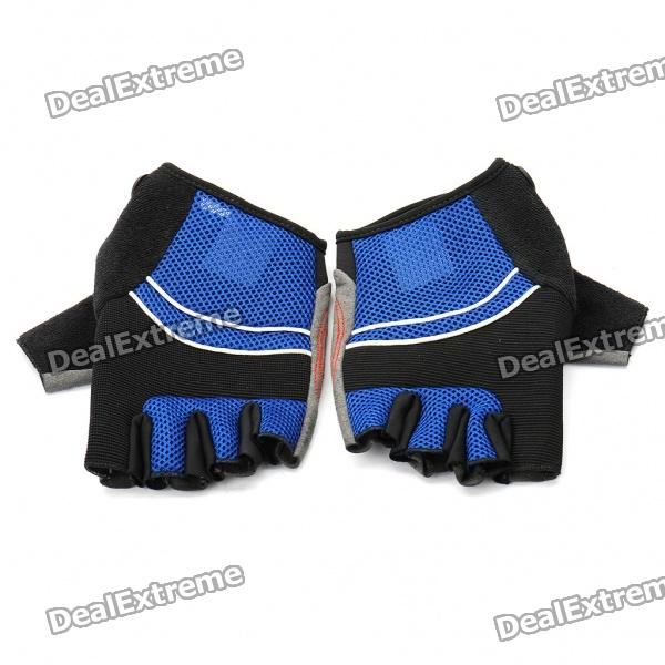 Outdoor Sports Bicycle Half-Finger Gloves - Black + Blue (L Size / Pair)