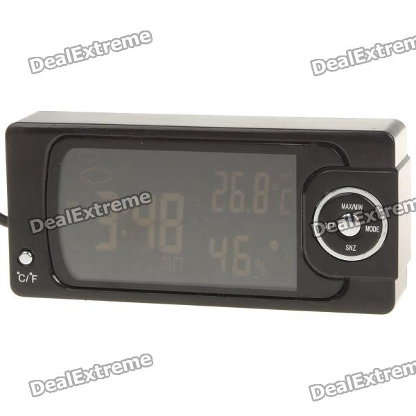 "2.6"" LCD Car Indoor/Outdoor Weather Station Thermometer + Hygrometer with Clock (2xLR44)"