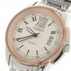 Stylish Alloy + Stainless Steel Water Resistant Wrist Watch with Calendar (1 x LR626)