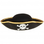Cool Pirate Hat Cap with Skull Pattern - Black + Gold