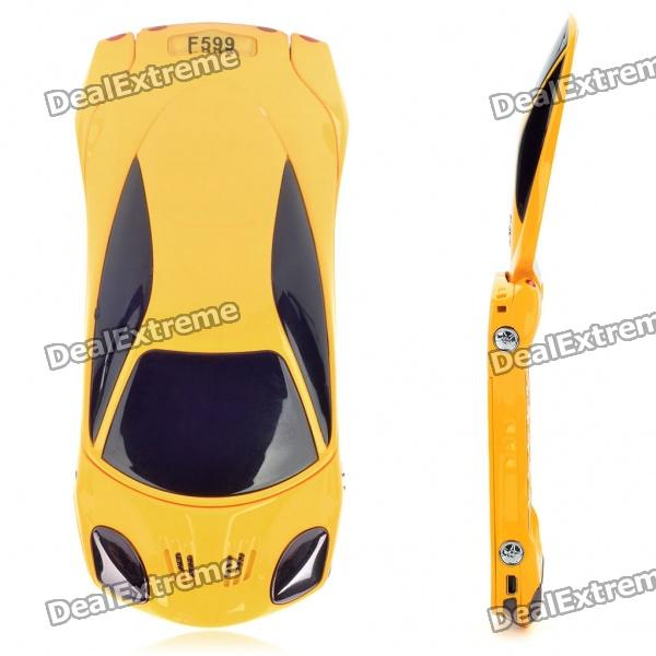 "Car Shaped 2.0"" Dual SIM Dual Network Standby Quadband GSM Flip Phone with JAVA - Black + Yellow"