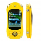 "Car Shaped 2.4"" Dual SIM Dual Network Standby Quadband GSM Slide Phone with JAVA - Yellow"