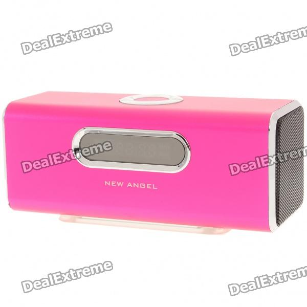 "1.6"" LCD 2x3W Mini USB Rechargeable MP3 Player Speaker with FM/USB/TF - Deep Pink thumbnail"