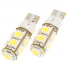 T10 2W 9-SMD 5050 LED 110LM 6000-6500K White Light Bulbs for Car (Pair)