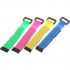 Velcro Nylon Cable Tie Strap for Bicycle Bike - Random Color (4-Piece Pack)