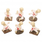 Cute Resin Kungfu Little Monk Desktop Display Toys Set (6-Piece)