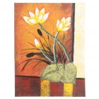 Handmade Hand Painted Oil Painting with Wood Frame - Abstract Lotus