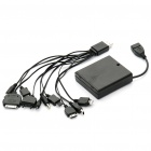 USB 4xAA Battery Case Box Charger + 10-in-1 Charging Cable