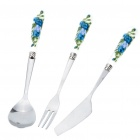 Portable Pocket Stainless Steel Folding Fork + Spoon + Knife Dinner Set - Random Color