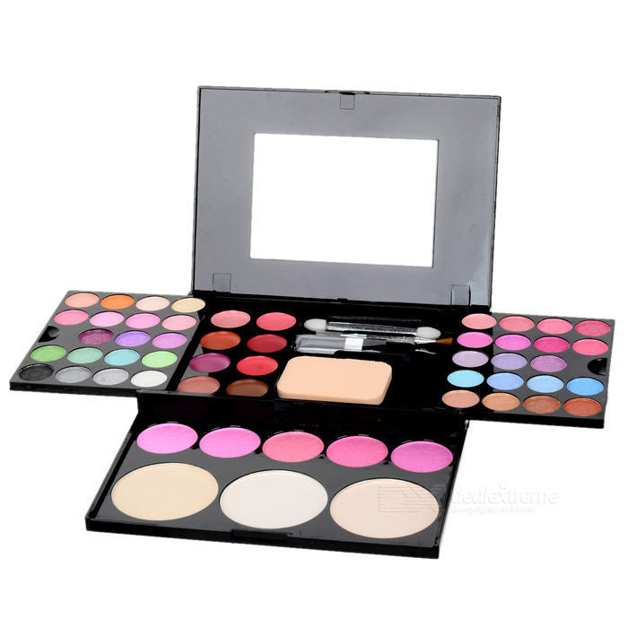 Cosmetic Make-Up 48-Color Eye Shadow Palette with Mirror & Brushes Set