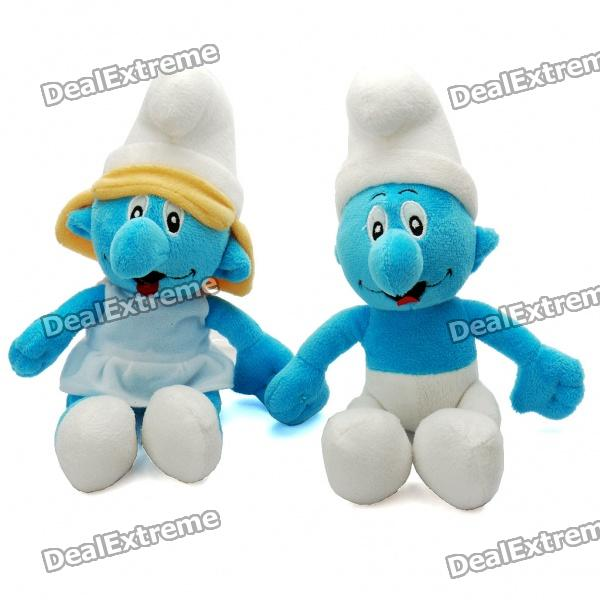 The Smurfs Figure Plush Doll Toy Couple - Clumsy + Smurfette (Pair)