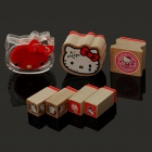 Cute Hello Kitty Figure Wooden Silicon Stamps Set (7-Piece Set/Random Color)