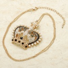 Fashion Crystal Imperial Crown Crystal Pendant Necklace Chain (30cm-Length)