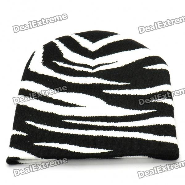 Trendy Outdoor Travel Knitting Cycling Hat/Cap - Black + White (Stripes) trendy cotton fedora hat cap black