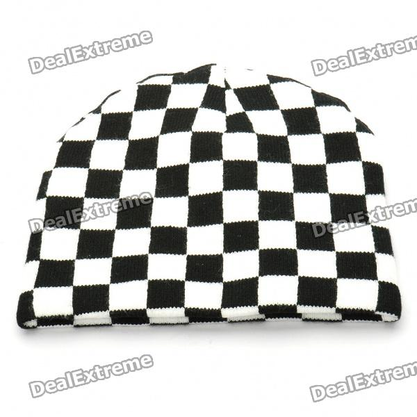 Trendy Outdoor Travel Knitting Radfahren Hat / Cap - Black + White (Grids)
