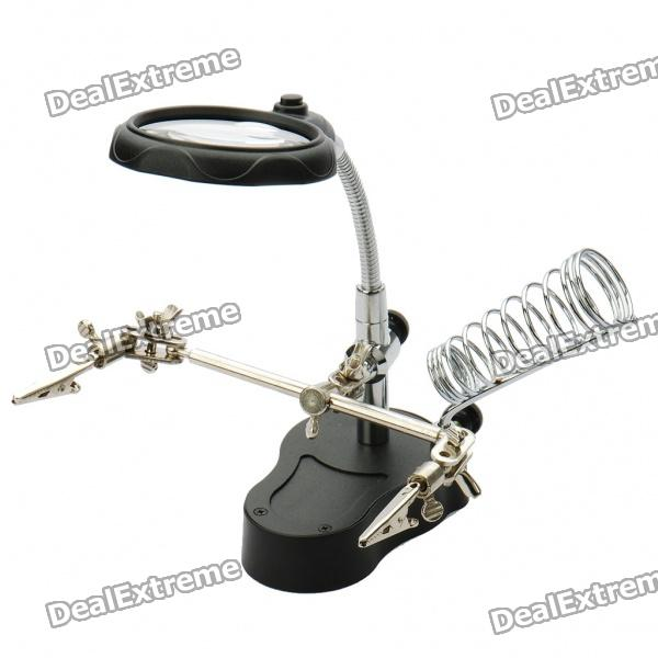 Third Hand Soldering Stand w/ 2-LED White Light & Magnifier (3*AAA)