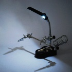 Helping Third Hand Soldering Stand w/ 2-LED White Light & Magnifier (3 x AAA)