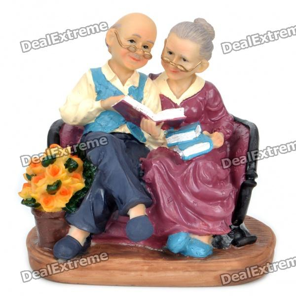 Toys For Grandparents House : Peaceful resin reading grandma and grandpa toy desktop