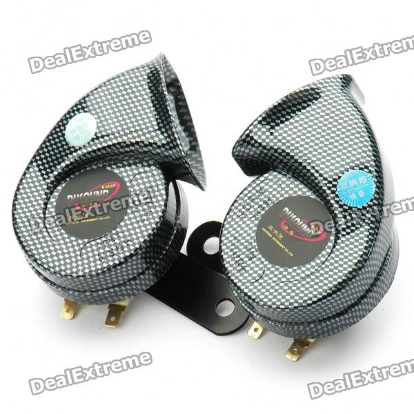 Snail Shaped Air Horn Set for Car - Pair (12V)