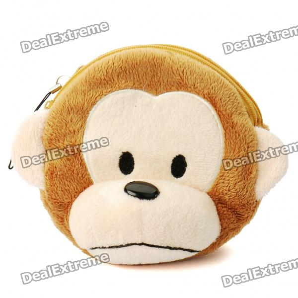 Cute Monkey Style Plush Bag with Strap - Yellow