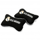 Football Team Logo Style Head Rest Plush Pillows with Stretchy Strap - Real Madrid (Pair)