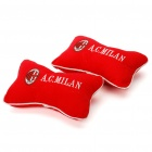 Football Team Logo Style Head Rest Plush Pillows with Stretchy Strap - AC Milan (Pair)