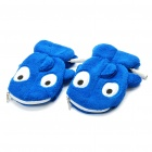Cute Whale Prince USB Heating Soft Warmer Gloves with Zipper Bag - Blue (Pair)