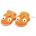Cute Whale Prince USB Heating Soft Warmer Gloves with Zipper Bag - Orange (Pair)