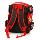 Cute Cars Style Multi Zipper Pockets Stationery Backpack Schoolbag - Red + White + Black