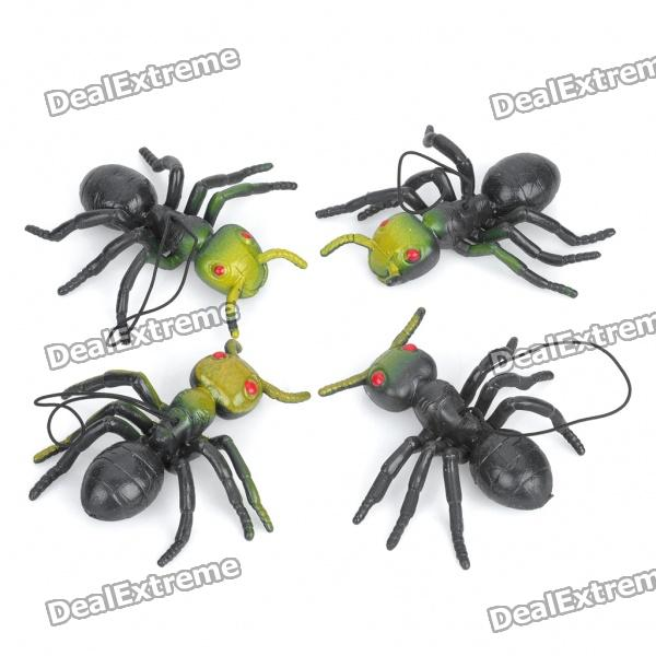 Imitative Soft Silicone Ant Toys with Strap (4-Pack)