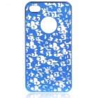 Stylish Miniature Engraving PC Protective Back Case for Iphone 4 - Blue
