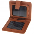 Portable Folding Solar Powered 1800mAh Battery w/ Charging Adapters for Cell Phone + More - Brown
